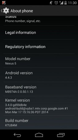 Google Nexus 5 with Android 4.4.3 KitKat KTU84M update