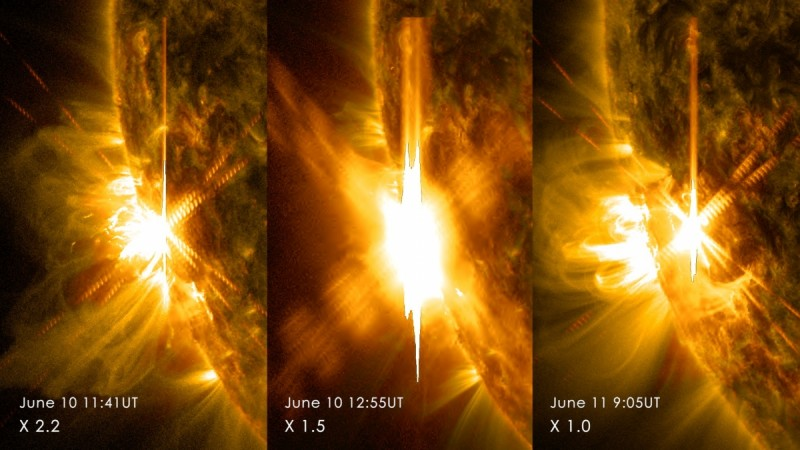Three X-class flares erupted from the left side of the sun June 10-11, 2014. These images are from NASA's Solar Dynamics Observatory and show light in a blend of two ultraviolet wavelengths: 171 and 131 angstroms. The former is colorized in yellow; the la