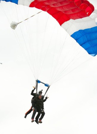 Former U.S. President George H.W. Bush marks his 90th birthday with a tandem skydive with the All Veteran Parachute Team in Kennebunkport, Maine