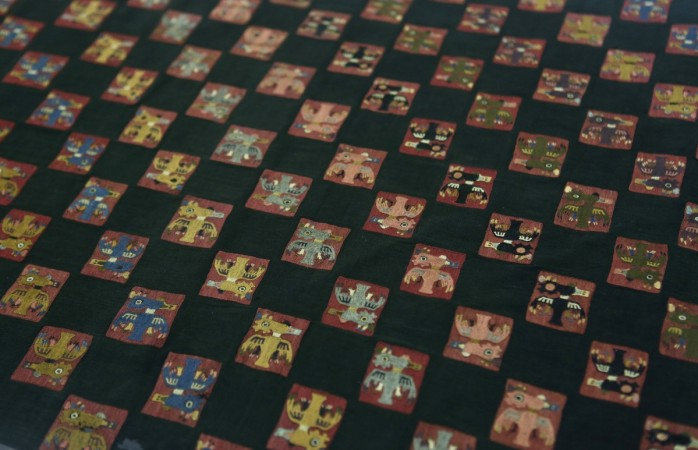 A close-up view of a pre-Inca, Paracas textile, one of the four artefacts recently repatriated from Gothenburg, is seen on display to the media at the MNAAHP in Lima (Reuters)