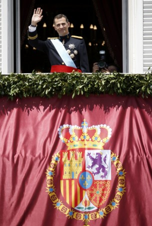 Spain's new King Felipe VI appears on the balcony of the Royal Palace in Madrid