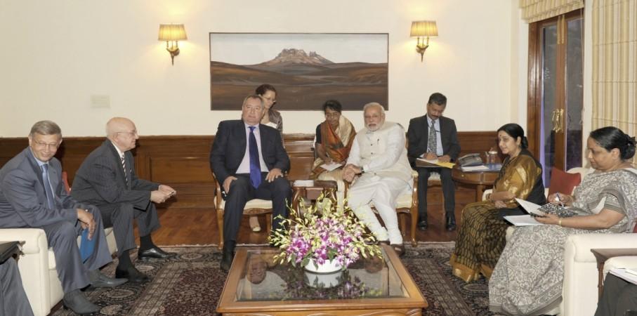 Russia's DPM Rogozin and Indian PM Modi attend a meeting in New Delhi