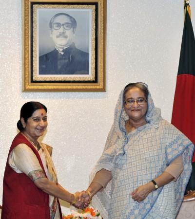 Sushma Swaraj in her meeting with Bangladesh Prime Minister Sheikh Hasina