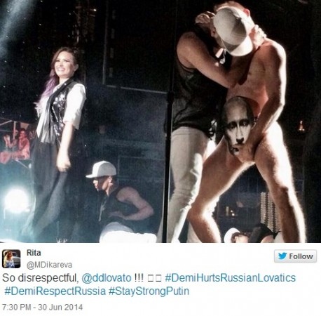 American singer Demi Lovato's 'Putin Gay Kiss' gybe has triggered outrage among Russians.