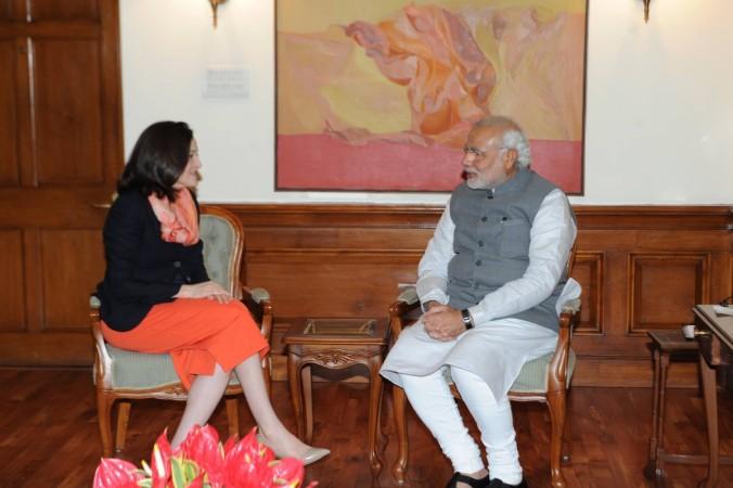 Modi Sandberg Facebook meet
