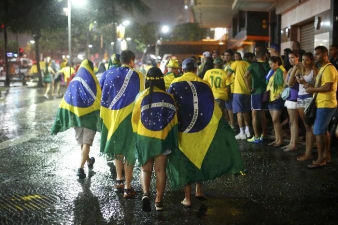 Brazil fans crowd supporters