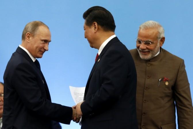 India, Russia and China at BRICS Summit