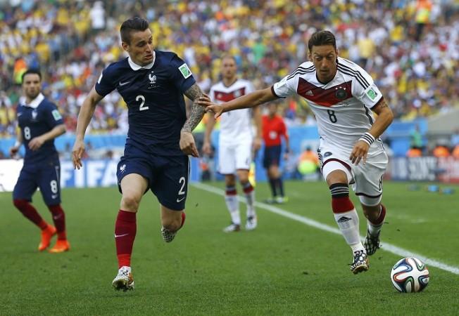 Mathieu Debuchy France Mesut Ozil Germany