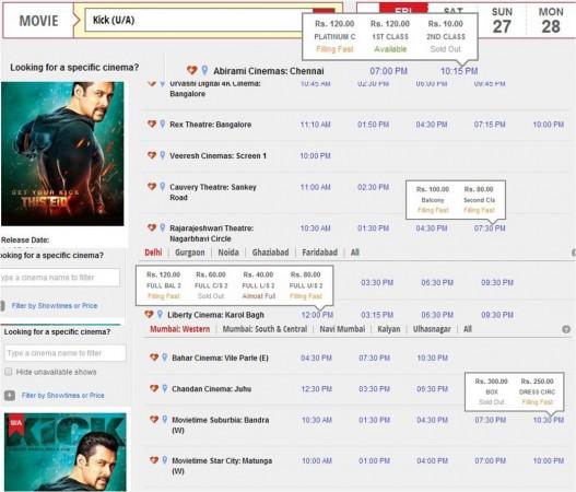 'Kick' online booking portal's screenshot