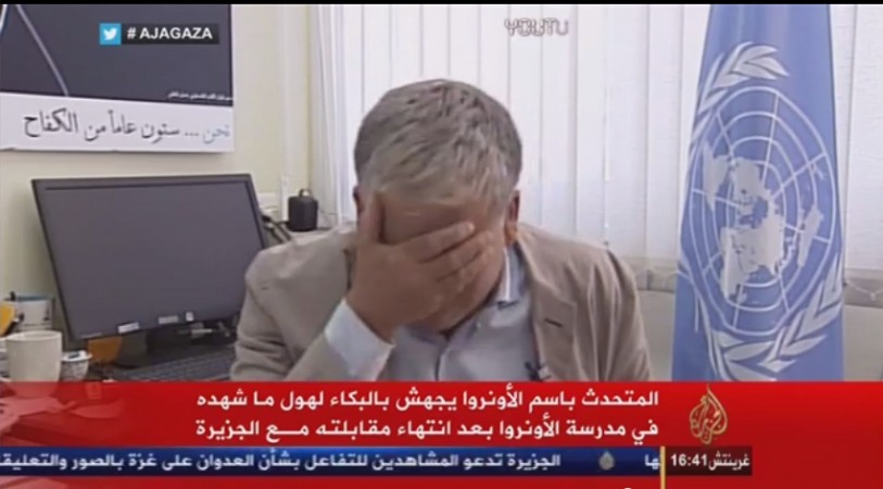 A UN spokesman cried uncontrollably live on television while discussing about the ongoing Gaza conflict.