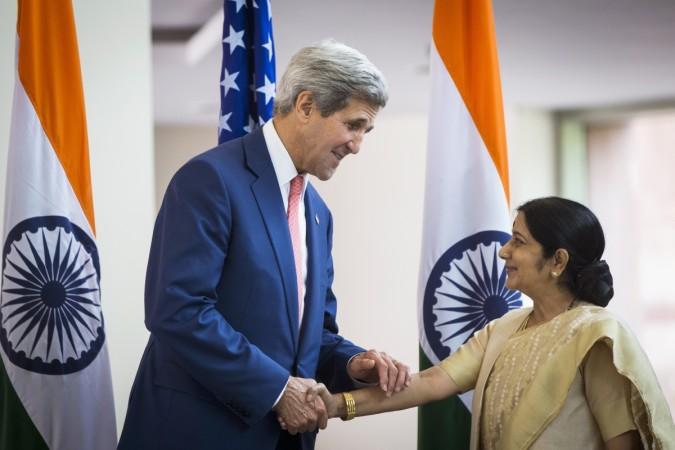 John Kerry and Sushma Swaraj meet in New Delhi