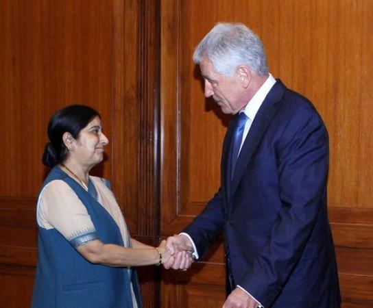 Chuck Hagel Meets Suhma Swaraj