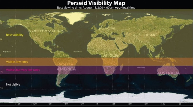 The annual Perseid meteor shower peaks TONIGHT, Aug. 12-13. Check the map below for your city/state's visibility. Best Visibility = up to 30-40 meteors/hour; Visible, Low Rates = up to 10 meteors/hour; and Visible, Very Low Rates = less than five meteors/