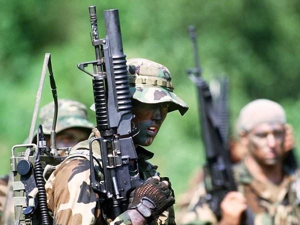 A U.S. Navy SEALs team in action.