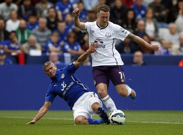Paul Konchesky Leicester City Aiden McGeady Everton