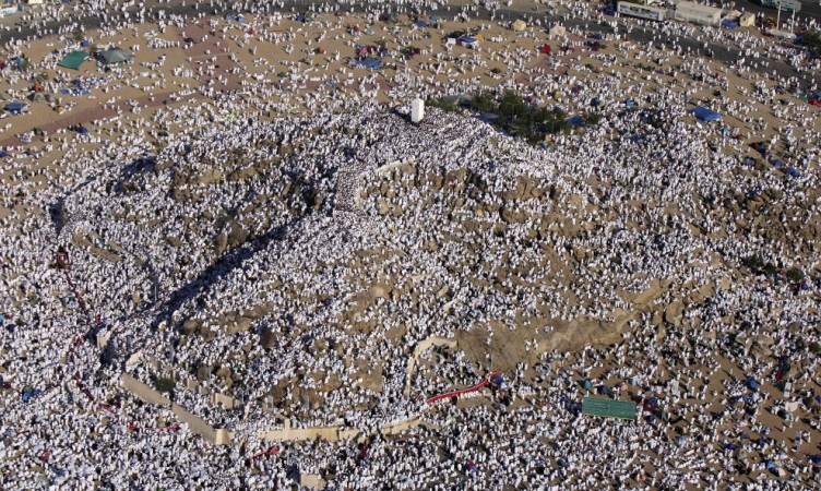 An aerial view of Muslim pilgrims atop Mount Mercy outside Mecca, Saudi Arabia on December 7, 2008. From this hill, the Prophet Muhammad delivered his final sermon nearly 1,400 years ago.