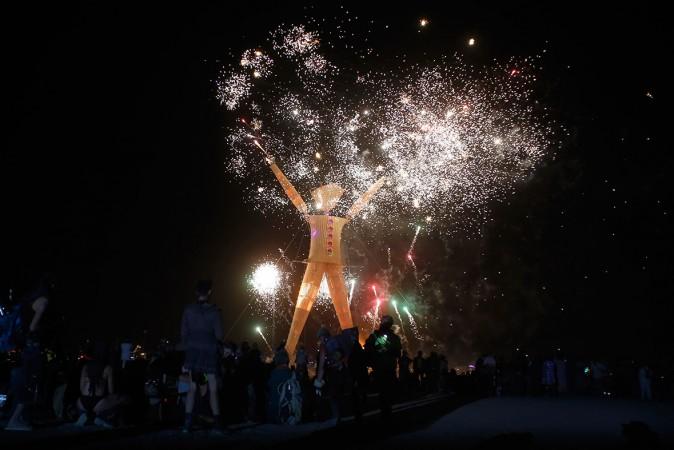 Thousands enjoyed the fireworks before the Burning Man was set afire.