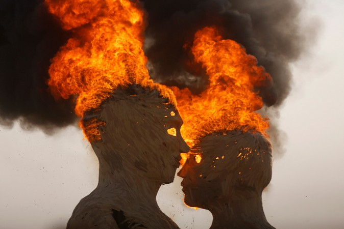 The burning of an art installation titled Embrace