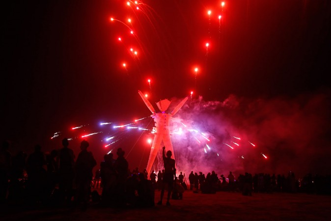 A fireshow at The Burning Man's effigy