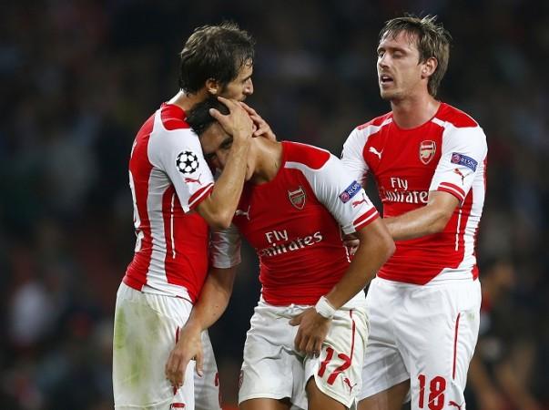 Arsenal Mathieu Flamini Alexis Sanchez Nacho Monreal