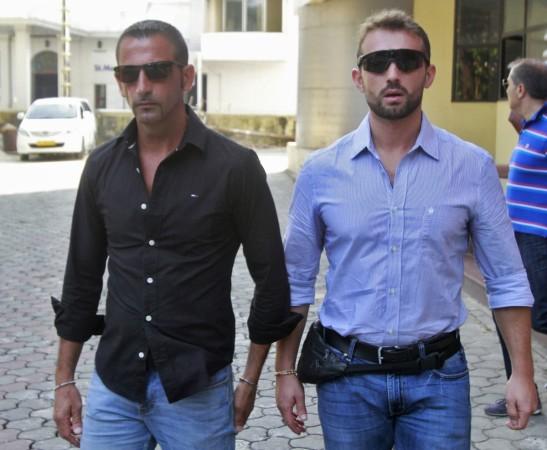 Italian sailors Salvatore Girone (R) and Massimiliano Latorre