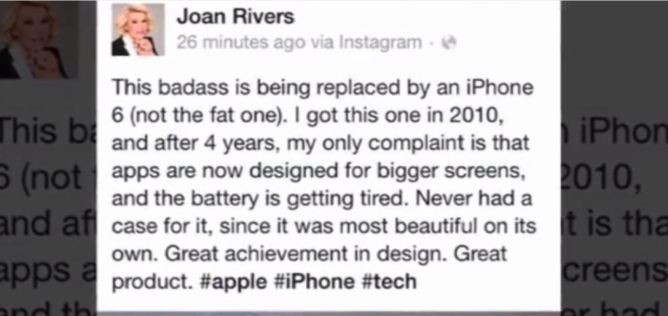 Joan River Promotes iPhone 6 from the Grave