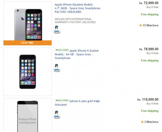 Apple iPhone 6, iPhone 6 Plus at e-Bay India website