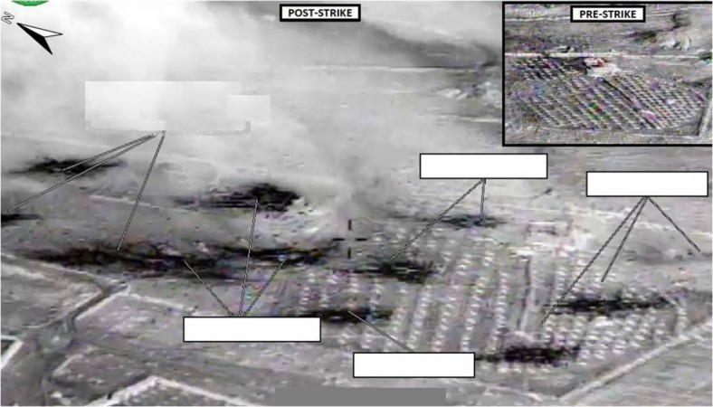 An area U.S. officials say was an ISIL vehicle staging center near Abu Kamal, Syria, is seen before (inset) and after it was struck by U.S. aircraft in a U.S. Department of Defense handout picture provided September 23, 2014.