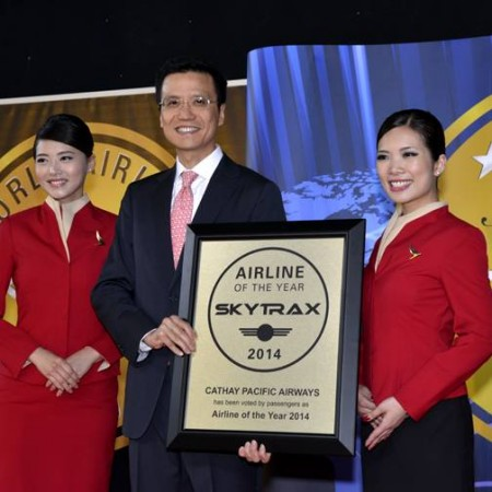 Cathay Pacific Airways CEO, Ivan Chu, receives the World's Best Airline Award