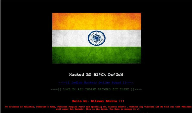 Indian Hackers defaced PPP's website in reply to the comment over Kashmir by Bilawal Bhutto