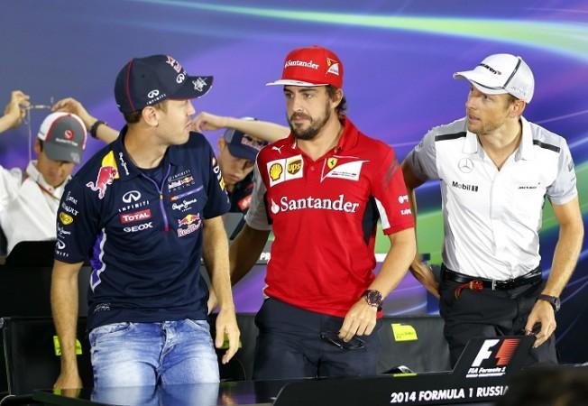 Vettel Red Bull Alonso Ferrari Button McLaren