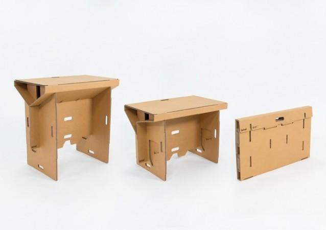 Refold, portable cardboard desk