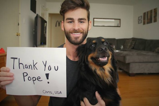 Actor and gay rights activist Chris Salvatore thanks Pope Francis