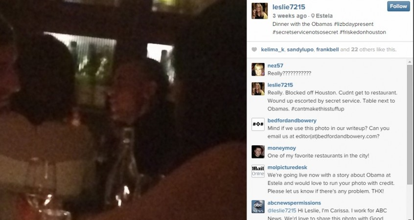 Obamas dine at New York restaurant, where the President's credit card was rejected