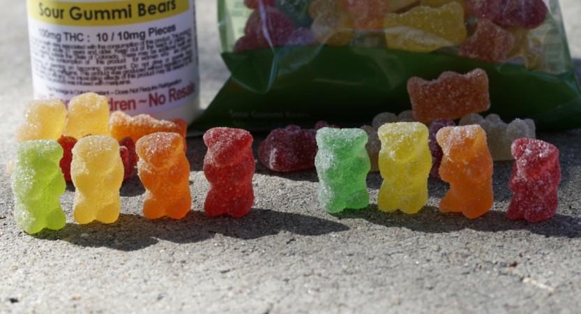 Marijuana-infused sour gummy bear candies