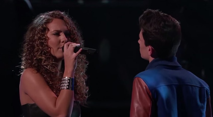 "Alessandra Castronovo and Joe Kirk perform on ""The Voice"" Season 7."