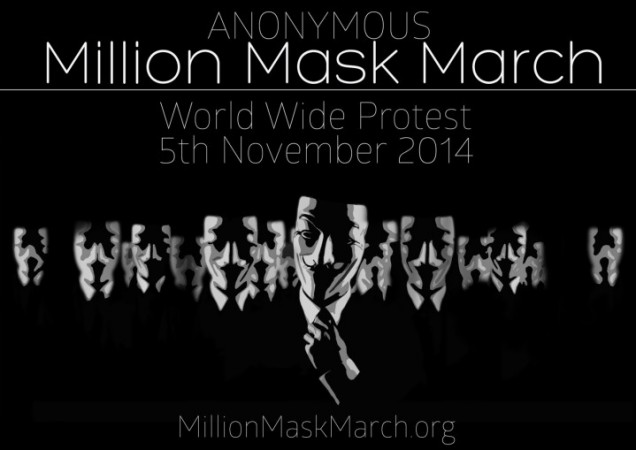 'Million Mask March' 2014: Activist movement group 'Anonymous' will take to streets in 463 locations on 5 November.