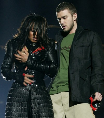Janet Jackson reacts after fellow singer Justin Timberlake ripped off one of her chest plates at Super Bowl XXXVIII in 2004.