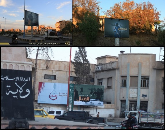 ISIS has put up several new billboards inside the city of Raqqa in Syria.