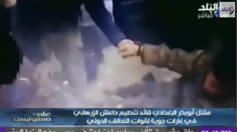 A video that claims to show ISIS leader Abu Bakr al-Baghdadi suffering injuries or dying' in deadly airstrike last week has been leaked by Egyptian Balad TV.