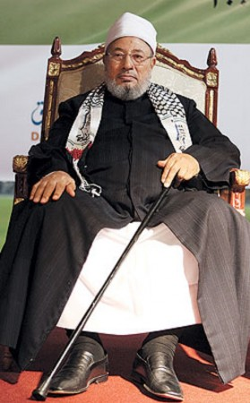The radical cleric Yusuf Al Qaradawi, an Egyptian who heads the International Union of Muslim Scholars, is found to have designed the curriculm for top Islamic college in Wales where one of Lee Rigby's killers Michael Adebowale studied.