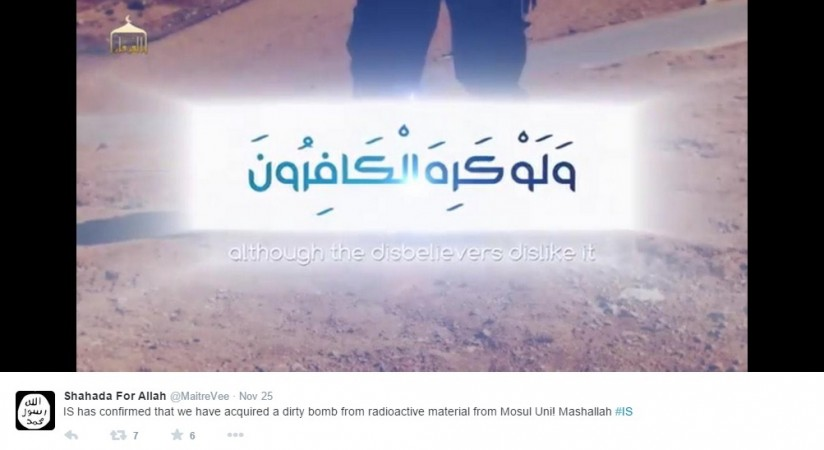 ISIS fighters claim on Twitter that the group has the dirty bomb.