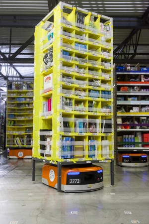 Kiva Robots at Amazon Fulfillment centers
