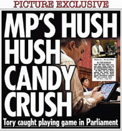 The Sun published images of a British MP playing Candy Crush Saga for over two and half hours during an important meeting.