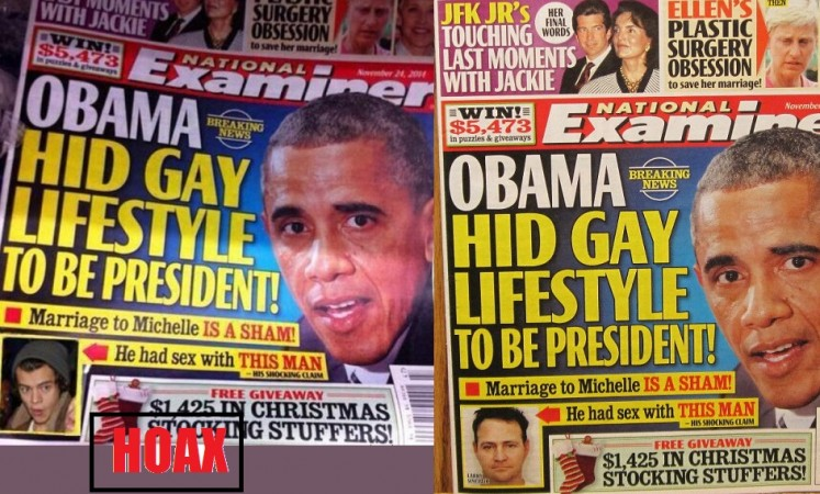 A hoax citing National Examiner claimed that the President Barack Obama and Harry Styles are in 'gay relationship.'