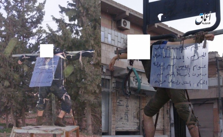 Two ISIS Sharia court members were crucified by the group for taking bribe from relatives of detainees.