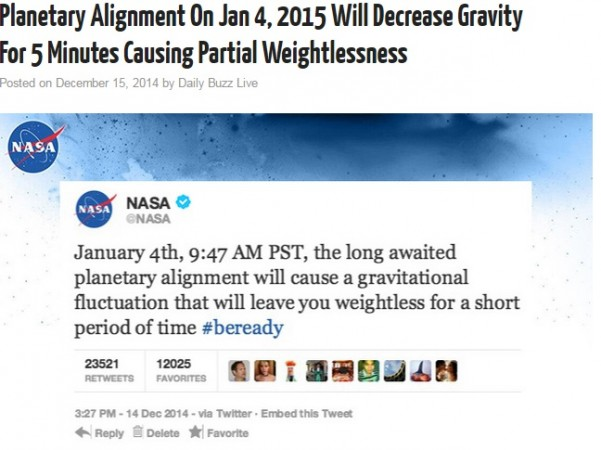A hoax news report which stated a 'gravitational fluctuation' will take place on 4 January causing humans to float for few minutes has gone viral.