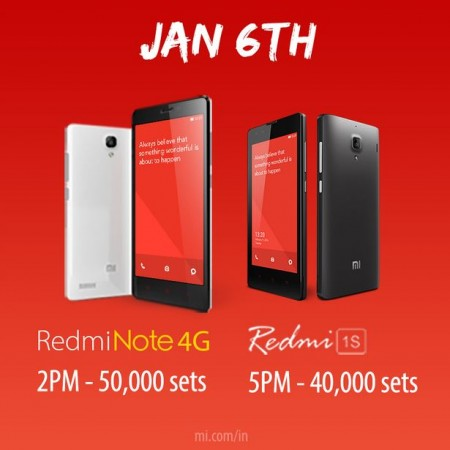 Xiaomi Redmi Note 4G & Redmi 1S Flipkart Flash Sale on 6 January