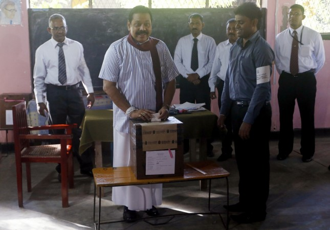 Sri Lanka Election 2015, President Manhinda Rajapaksa casts vote for seventh presidential elections of the country.