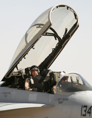 Ratan Tata in the cockpit of a F-16 aircraft